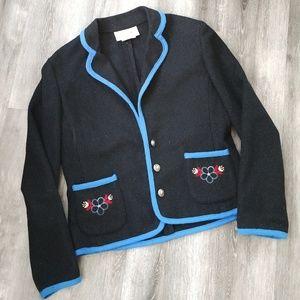 Vintage Wool Embroidered Navy Blazer Jacket